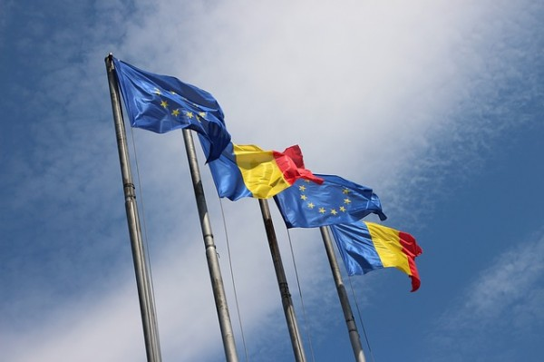 EU and Romanian flags