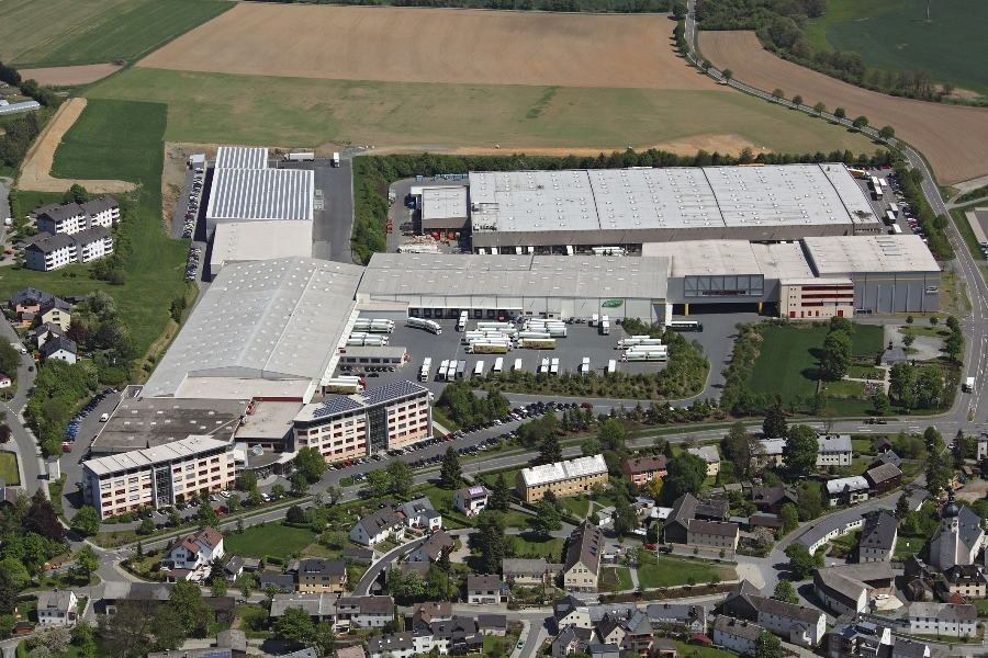 The headquarter and warehouse of Germany´s biggest distributor Dennree in Töpen.