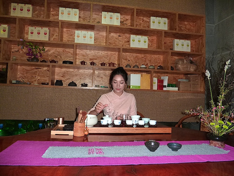 The tea ceremony is part of the experience in all tea shops.