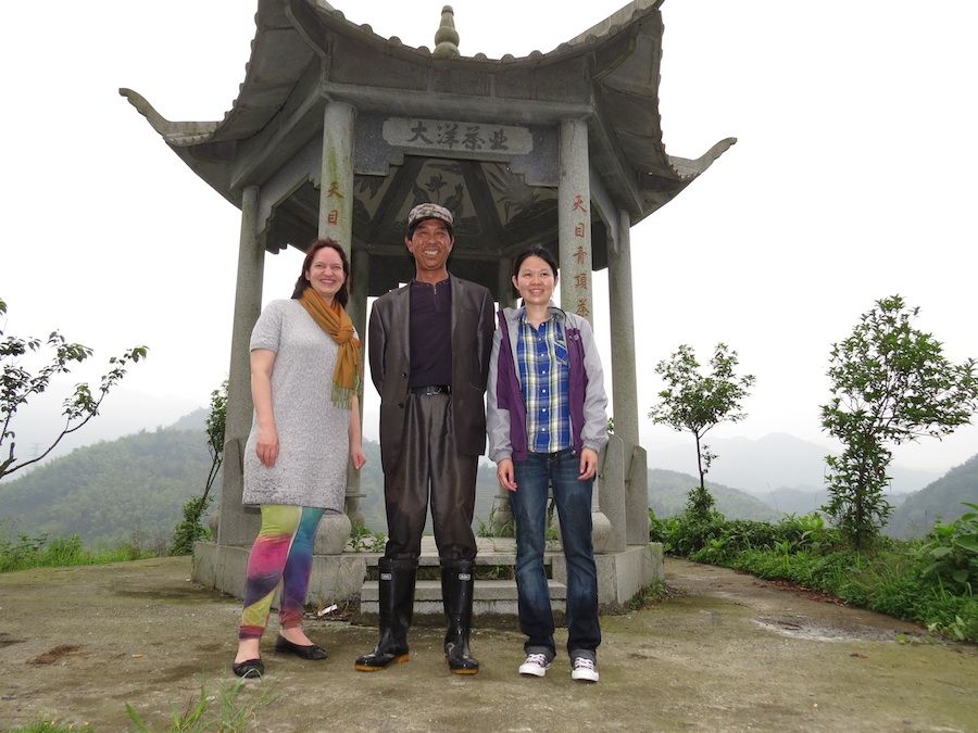 Ökotopia managing director Franziska Geyer and buyer Hui Pang with the manager of the tea garden.