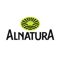 Alnatura label on a flag surrounded by green leafs.
