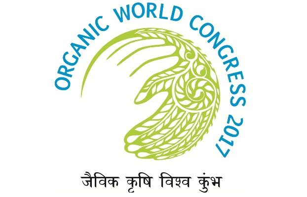 Logo of the 19th Organic World Congress in India.