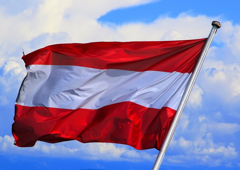 Austrian flag in the wind