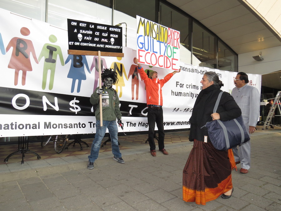 Protester against glyphosate and Monsanto at the Monsanto Tribunal in The Hague.
