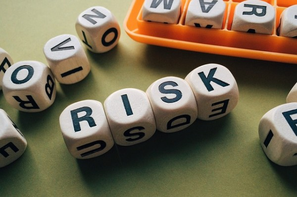 Dice forming the word risk