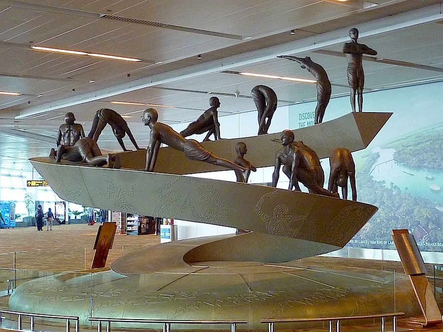 Sun salutation sculpture at Delhi Airport.