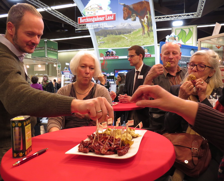 BioFach product tasting at a stand