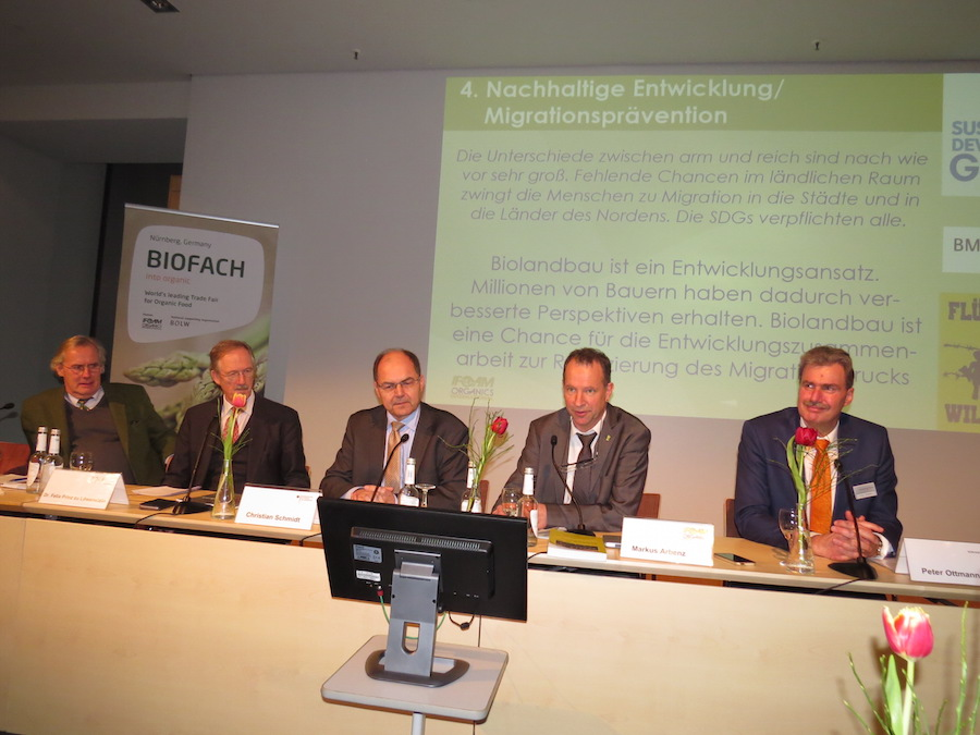 Minister Christian Schmidt (in the middle) at a panel to present the Future Strategy for Organic Agriculture