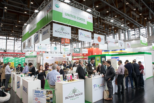 USA booth with exhibitors at BioFach 2018 in Nuremburg, Germany
