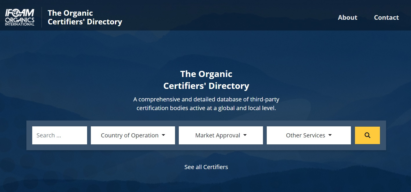 Screenshot of the new database Organic Certifiers' Directory.