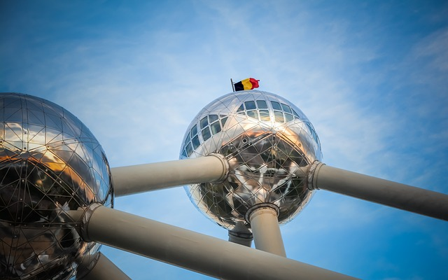 Atomium in Brussels - above: the Belgian flag