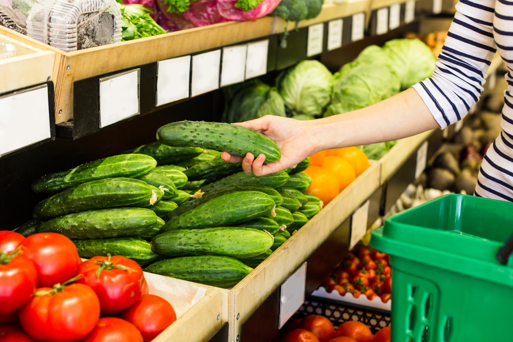 At the vegetable shelf