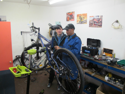Bicycles are being repaired