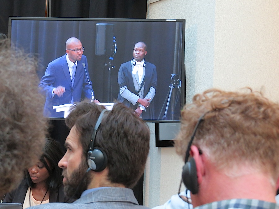 Lawyers giving their statement at the Monsanto Tribunal in The Hague