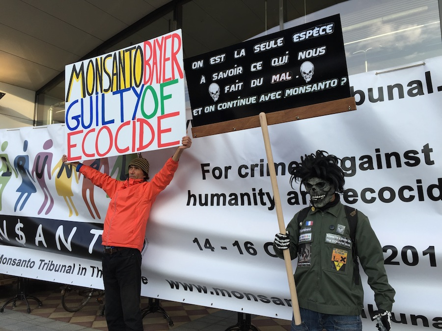 Protesters against glyphosate and Monsanto at the Monsanto Tribunal in The Hague.