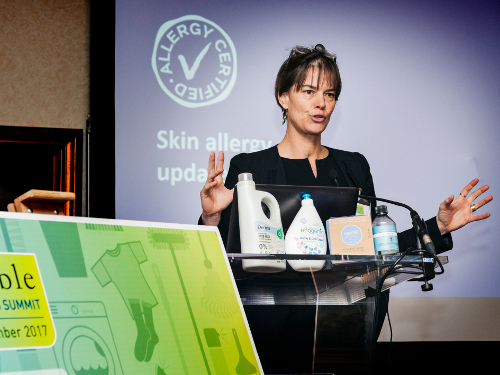 Lene Still from Allergy Certified was one of the speakers at the 4th Sustainable Cleaning Products Summit in Paris.